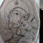 Příprava na montáž mozaiky Panny Marie u Minoritů v Brně